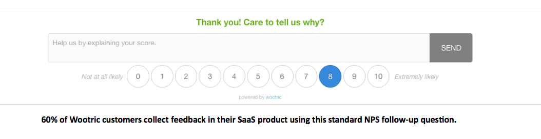 60% of all Wootric customers use this standrd follow-up NPS question