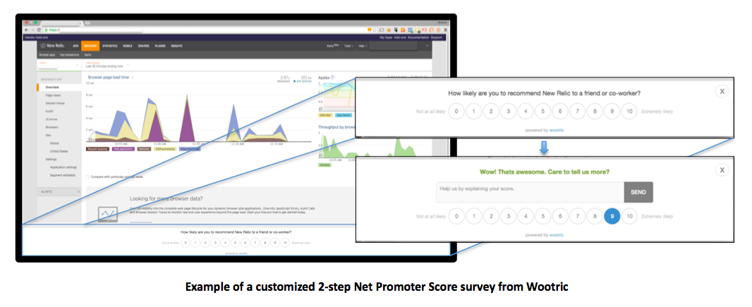 Example of a customized 2-step Net Promoter Score survey from Wootric